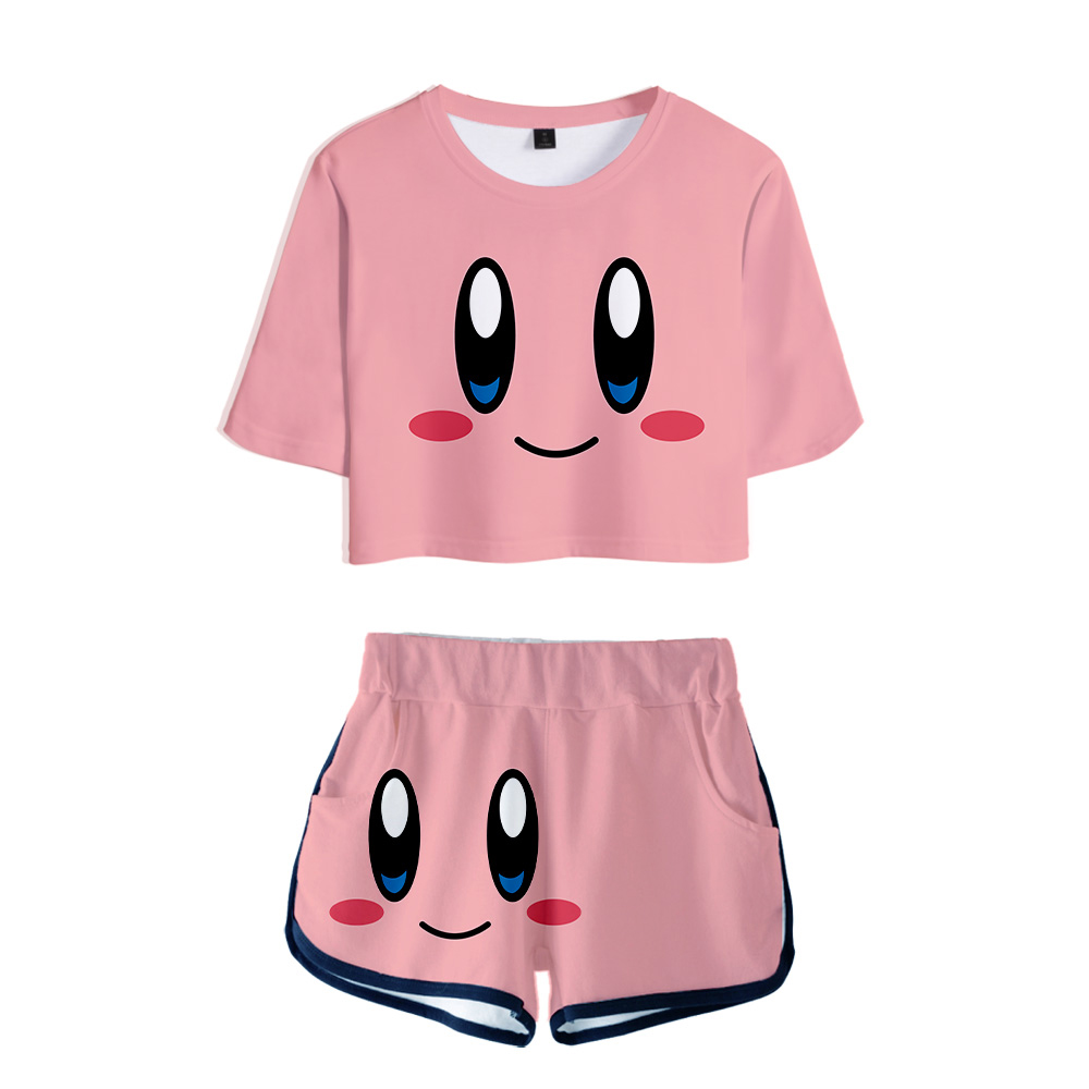 Nostalgia Childhood ACT Game Kirby 2019 New 3D Print Two Pieces Sets Women Fashion Girl Casual T-shirt+shorts Clothes