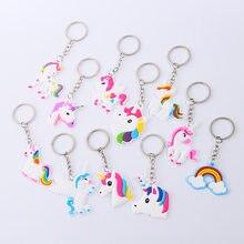 12 pçs/set Pulseira De Borracha Keychain Decorações Para Crianças Favores Do Partido Unicórnio Unicórnio Colorido Fontes Do Partido Festa de Aniversário