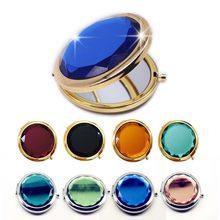 Espelho de maquiagem de cristal de luxo, espelho compacto dobrável, portátil, redondo, dourado, prateado, para presente personalizado, 1 peça