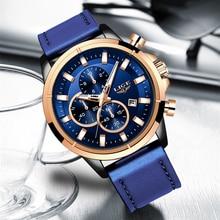 LIGE ساعات رياضية عادية للرجال الأزرق العلامة التجارية الفاخرة العسكرية ساعة معصم جلدية رجل ساعة الموضة كرونوغراف ساعة اليد