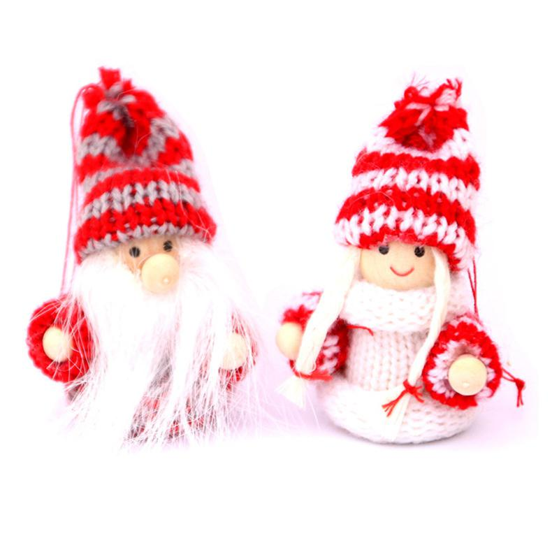 GloryStar 2pcs Christmas Xmas Ornaments Doll Christmas Tree Pendant Mall Hotel Window Decor Gift