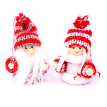 GloryStar 2pcs Christmas Xmas Ornaments Doll Christmas Tree Pendant Mall Hotel Window Decor Gift christmas reindeer doll xmas shop window home party decor ornament gift