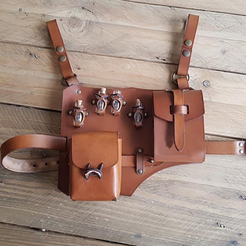 Leather Leg Harness Belt Potion Holster Alchemist Larp Steampunk Costume Renaissance Alchemy Kit Herbologist Bag For Men Women