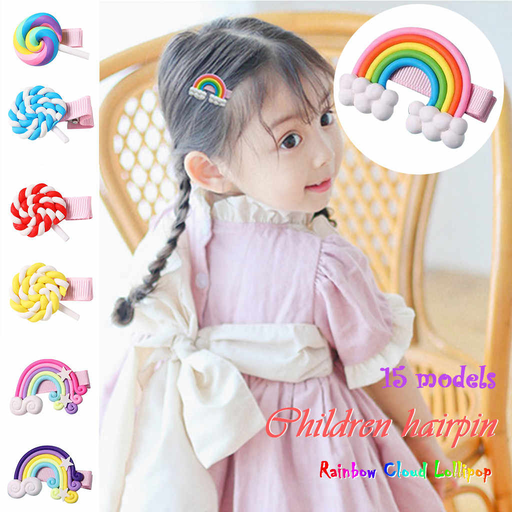 1PC New Hair Clip Children Hair Clip Hair Clip Cloud Rainbow Drop Clip Printing Fashion Hair Bezel Headwear Dropshipping