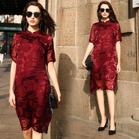 rose jacquared floral silk qipao dresses women 2020 summer long casual office work beach boho party dress plus size dropship