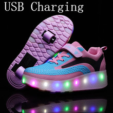 New Pink USB Charging For Children Kids Sneakers With Wheels Two wheels Fashion Girls Boys LED Light Roller Skate Shoes