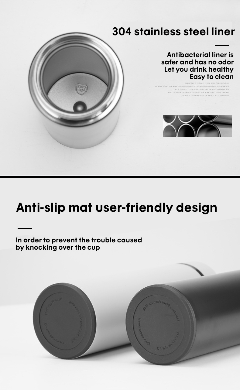 Thermos Temperature Display Vacuum Insulated Water Bottle 500ml Keep Thermal Cup Stainless Steel Travel Coffee Mug Thermos Flask