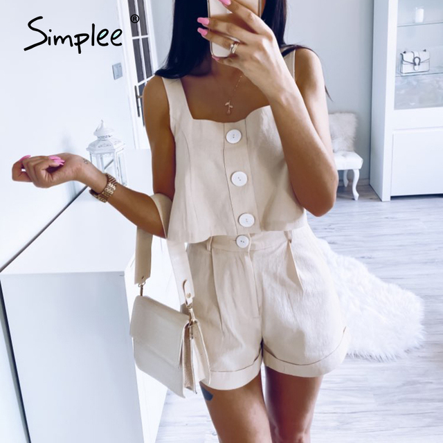 Casual two-piece women Sleeveless rompers