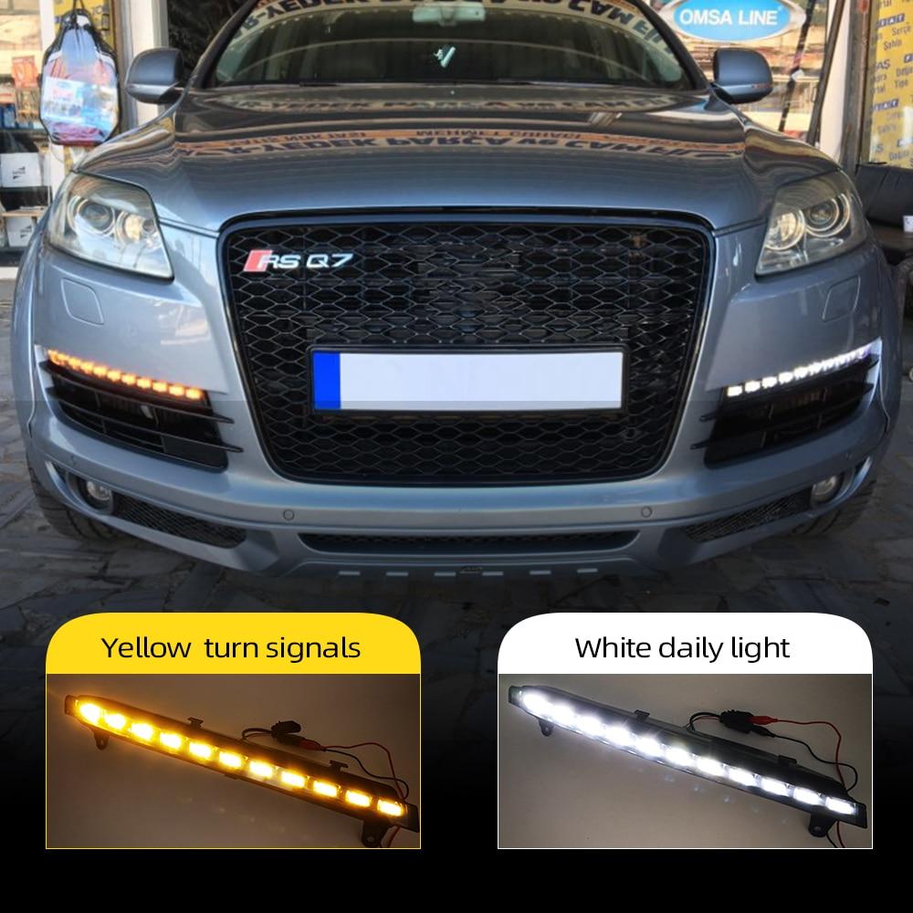 Автомобильные мигающие дневные ходовые огни для Audi Q7 2006 2007 2008 2009, дневные ходовые огни, противотуманные фары, 1 пара