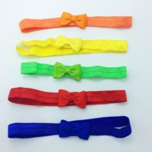 цена на 20pcs/lot kids Small Bow Tie Headband DIY Grosgrain Ribbon Bow Elastic Hair Bands Hair Accessories