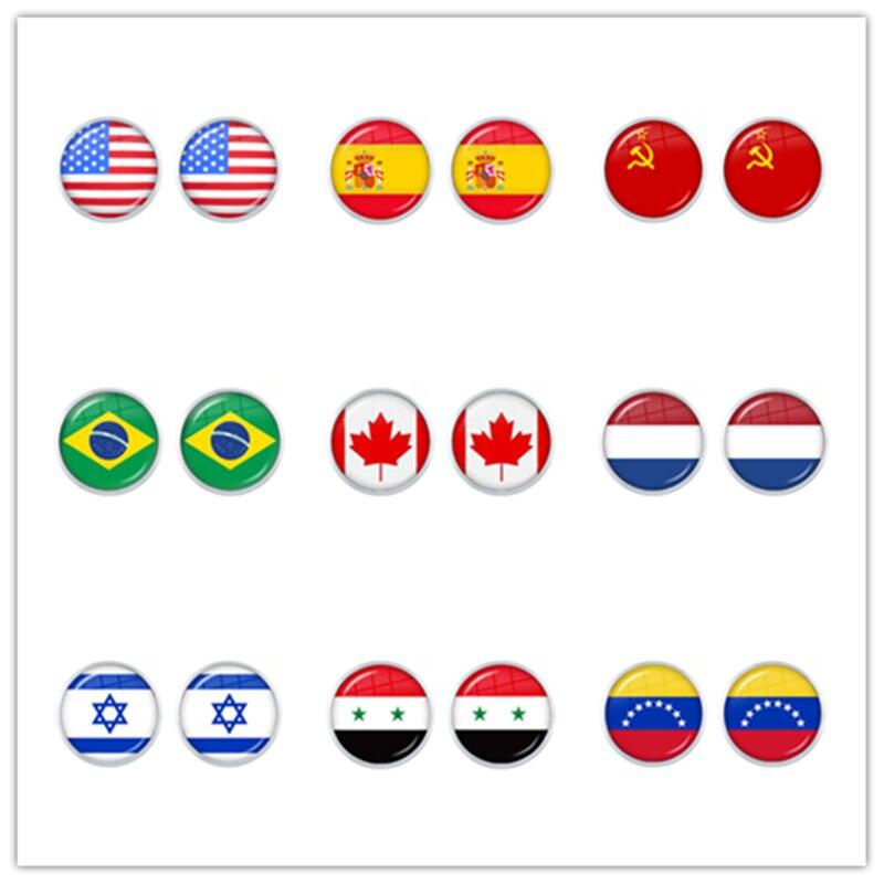 Советский Союз, Бразилия, Канада, Нидерланды, Израиль, Сирия, Венесуэла, США, Национальный Флаг Испании, стеклянные кабошоновые серьги-гвозд...