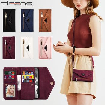 Leather Case For iPhone 12 Mini Strap Diagonal Wallet For iPhone 11 Pro XS Max XR X 6 6s 7 8 Plus SE 2020 Card Slot Phone Cover