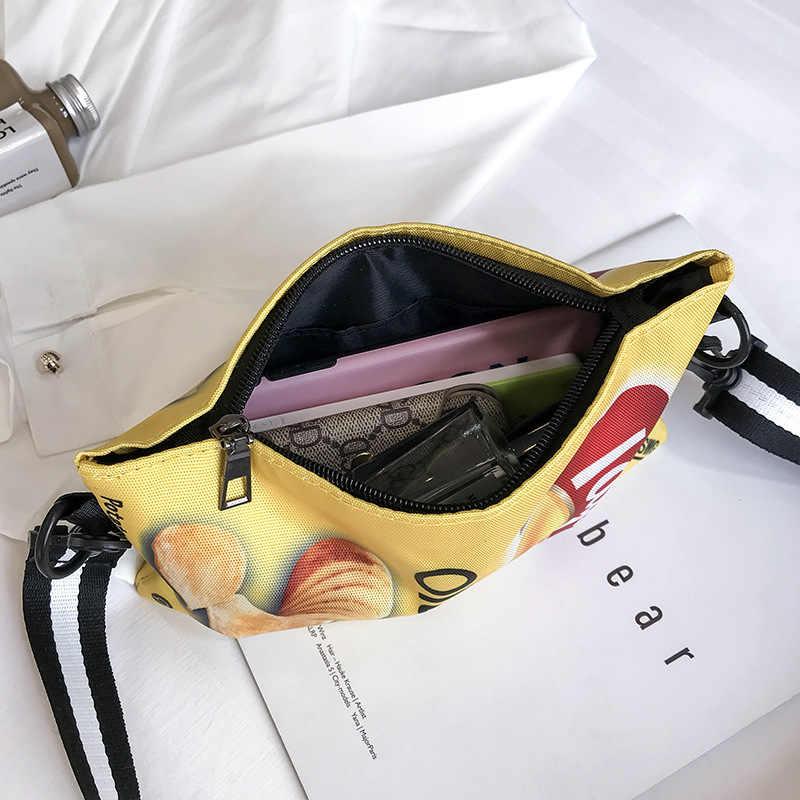 Engraçado batatas fritas crossbody bolsa feminina bolsa de ombro lona mini impressão dos desenhos animados menina envelope sacos embreagem feminina bonito bolsa