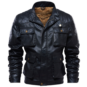 Men's Fleece Winter Faux Leather Jacket Thick Coat Autumn Slim Fit PU Leather Motorcycle Jackets Male Coats Plus Size 5XL