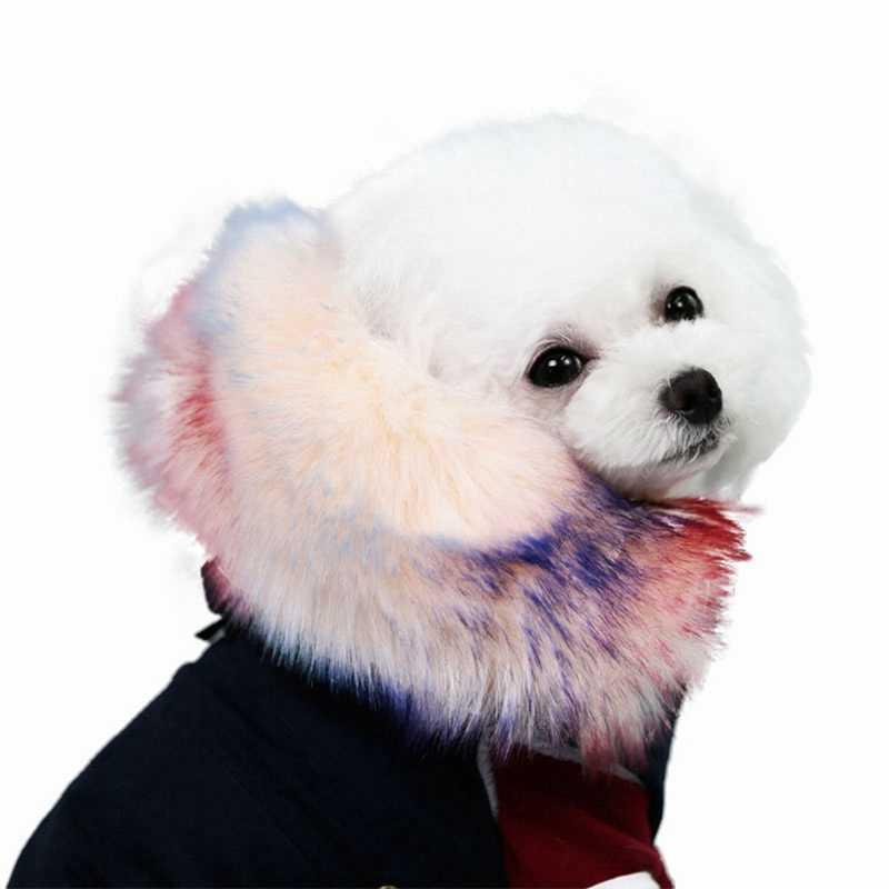 الفاخرة فو الفراء طوق الكلب معطف دافئ يندبروف الحيوانات الأليفة صدرة الحيوان الأليف معطف الشتاء الكلب الملابس سترة صوف مبطن جرو