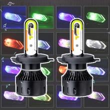 Rgb h7 led h4 h11 hb4 hb3 9006 9005 lâmpada do farol carro csp atmosfera ambiente som música automóvel nebbia app controle 6000k 12v hlxg