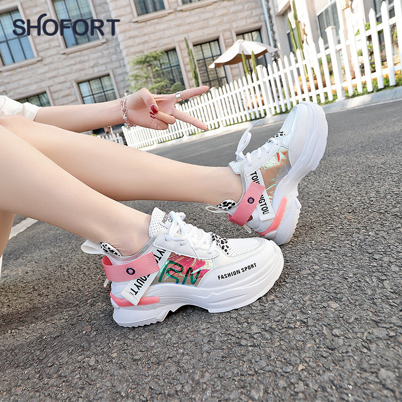 SHOFORT Women Shoes Fashion Casual Wild Sneakers Trainers Chaussure Female Thick Platform Shoes Comfortable For Spring Autumn