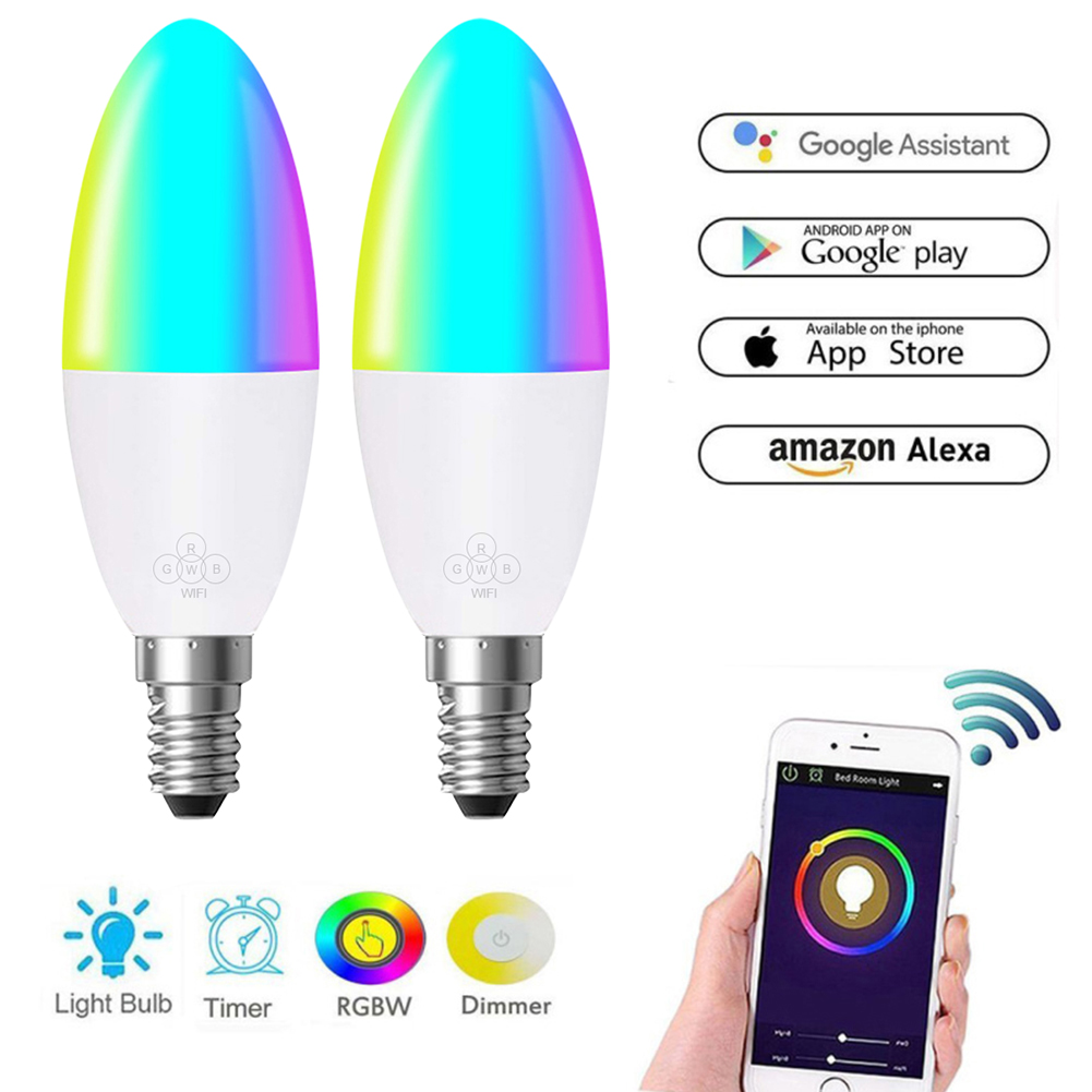 New Wireless Smart Candle Bulb LED 6W RGB Lamp E14/E26/E27/B22 Dimmable Light Remote Control Compatible With Alexa Google Home