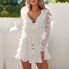White Romantic Embellished Ladies Frill Party Dress Sexy Ruffle V Neck Skater Dress Mini Autumn Long Sleeve Pom-poms Dress Women pom pom embellished tee dress
