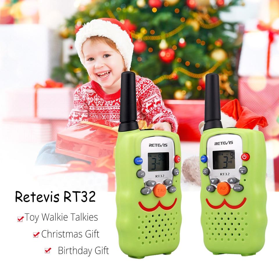 2pcs Retevis RT32 Mini Walkie Talkie Kids Radio Handy 2 Way Radio PMR446 PMR FRS Flashlight Birthday Gift Christmas Xmas Gift