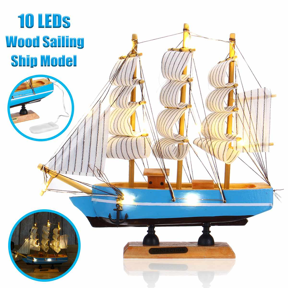 LBLA 10pcs LED Wood Sailing Ship Model Wooden Craft Sailor Handcrafted Boat Home Decoration 21x21cm Beautiful Originality