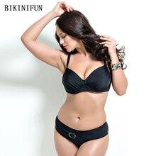 купить New Sexy Plus Size Bikini Women Swim Swimsuit Solid Color Bathing Suit 48-56 Backless Padded Swimwear Girl Vintage Bikini Set дешево