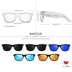 Image 2 - BARCUR High Quality Black Walnut Sunglasses Anti Reflecti Men Women Mirror Sun Glasses Male UV400 Wooden Sunglass Shades Oculos