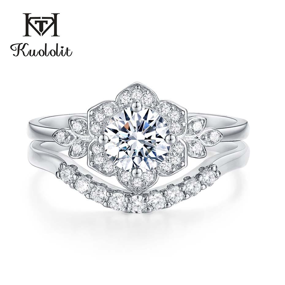 Kuololit 0.7ct Moissanite anneaux ensemble pour les femmes 925 en argent Sterling bande empilable anneau diamant Fine bijoux cadeau de mariage pour fille