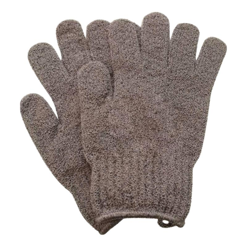 2 Pair Bath Exfoliating Glove Five Fingers Body Scrub Gloves Bath Shower Sauna Scrubber Mitt for Men Women (Purple)