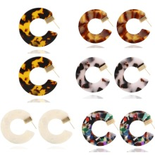 Bohemian Acrylic C Shaped Leopard Print Earring Vintage Trendy Geometric Big Jewelry Circle Hoops Alloy femme