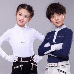T-shirt à manches longues équestre pour enfants, T-shirt d'équitation, vêtements d'équitation pour enfants, chemise de protection solaire, simili blanc N