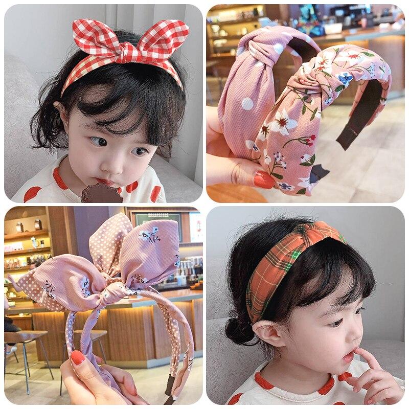 3 pièces/ensemble enfants mignon couleurs imprimé treillis rayures cheveux cerceau bandeaux filles belle Bow oreilles bandeaux enfants cheveux accessoires