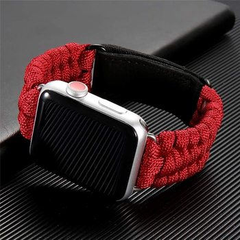 Strap For Apple watch band 44 mm 40mm iWatch 42mm 38mm Survival Rope Outdoors Leather clasp watchband Bracelet for series 5 4 3