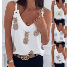 Women Crops Tops Summer White Casual Tops Pineapple Print Small Vest Female Beach Party Tank Tops Streetwear Cropped Clothing