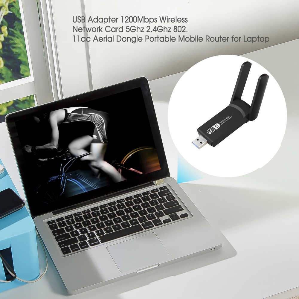 Yeni USB 3.0 1200Mbps Wifi adaptörü çift bant 5GHz 2.4Ghz 802.11AC RTL8812BU Wifi anten Dongle ağ kartı için dizüstü masaüstü