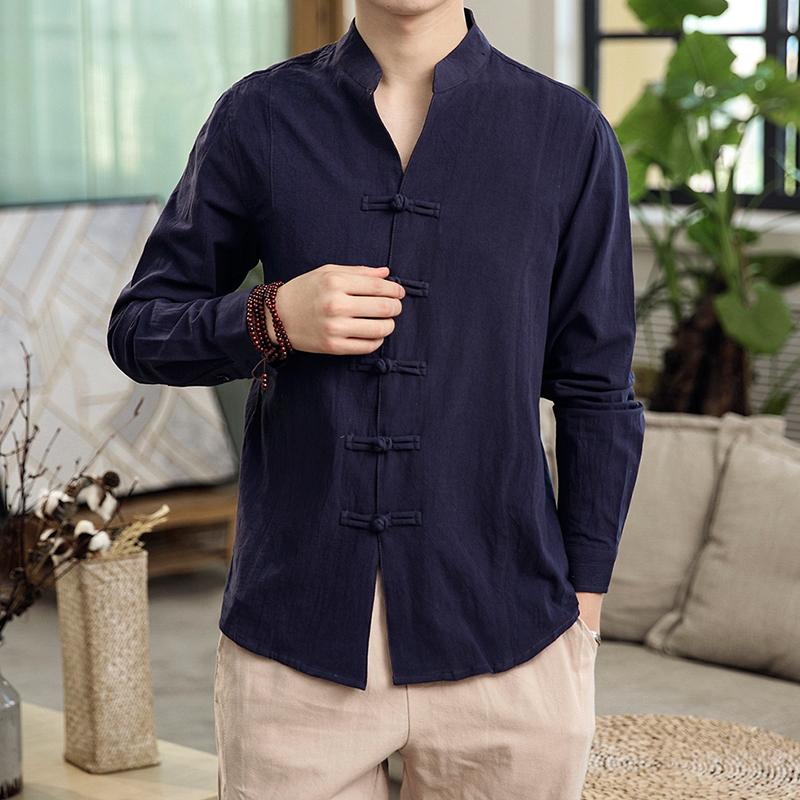 Button Collar Long-sleeved Blouse Men's Shirt Chinese Style Slim Linen Shirt For Men's Clothing Autumn