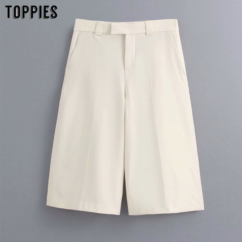 Womens Creamy White Suits Pants High Waist Straight Pants Summer Knee Length Trousers