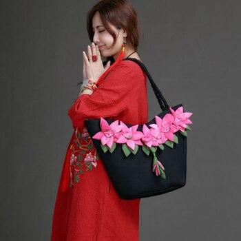New women's flower national style bag hand-made grab dye Decal shoulder bag High-capacity canvas black female cloth handbags