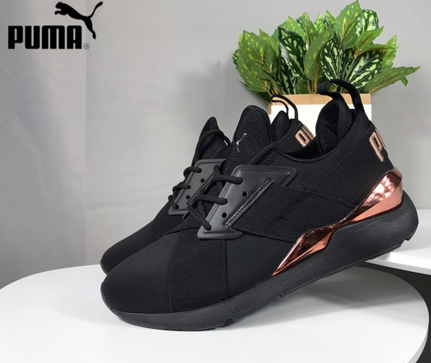 New Arrival PUMA Muse Metal Satin EP II Womens Sneakers 367047-02 Women Sports Badminton Shoes WN's Mid-Top Sneaker Size 35.5-39