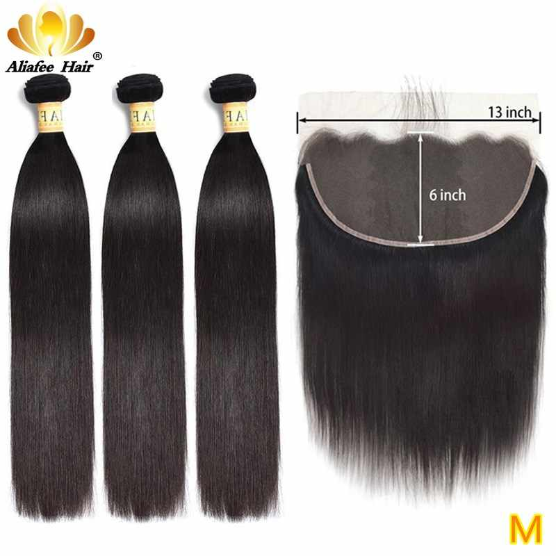 Aliafee Ear to Ear 13x6 Frontal with Bundles Brazilian Human Hair Straight Hair Bundles with Lace Frontal Remy Hair Extension