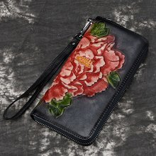 Women Wallet Female Genuine Leather Long Clutch Wallets Flower Embossing Zipper Wallet Women Card Purse Bag(China)