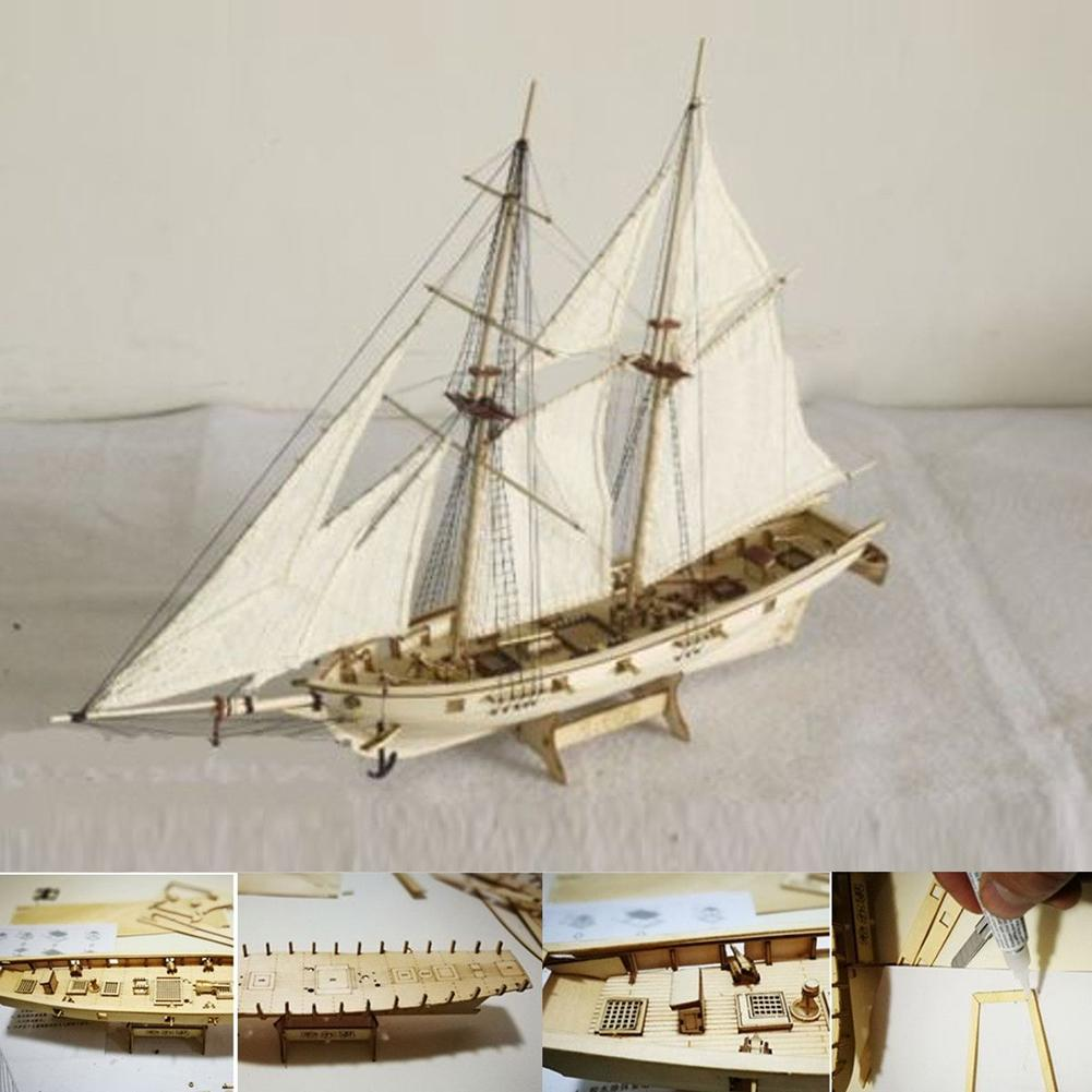 1:100 Scale Mini Wooden Sailboat Ship Kit Boat Toy Gift DIY Model Decoration