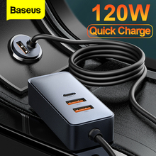 Baseus 120W USB Car Charger 4 Port Quick Charge QC 3.0 PD 20W Type C Car Phone Charger for iPhone 12 Pro Xiaomi Samsung Tablet