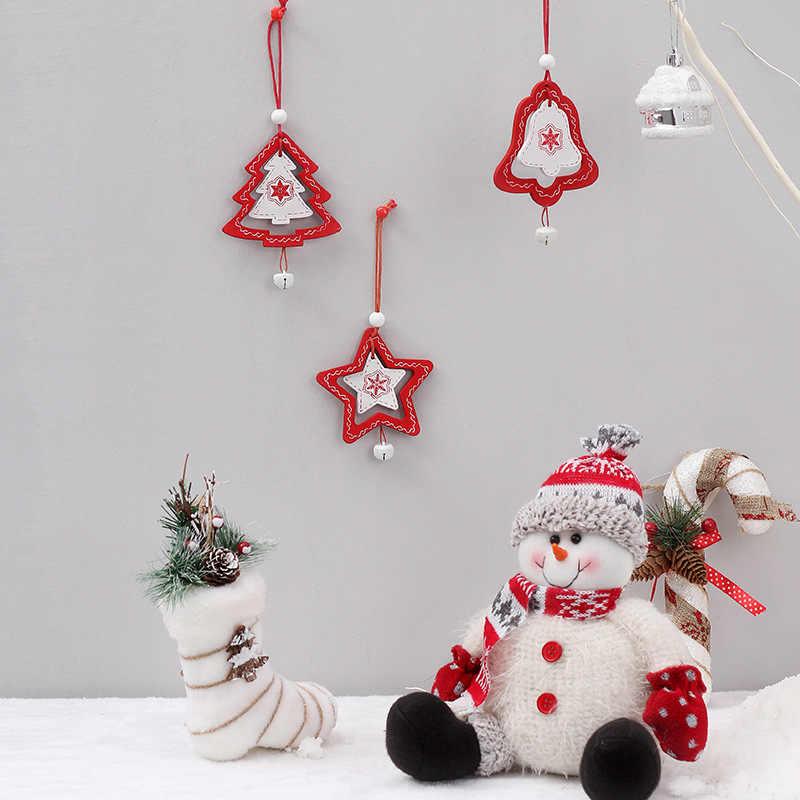 DIY Christmas Tree Star Bell จี้ไม้เครื่องประดับ Xmas Tree เครื่องประดับ DIY งานฝีมือไม้เด็กใหม่ปีของขวัญตกแต่งบ้าน