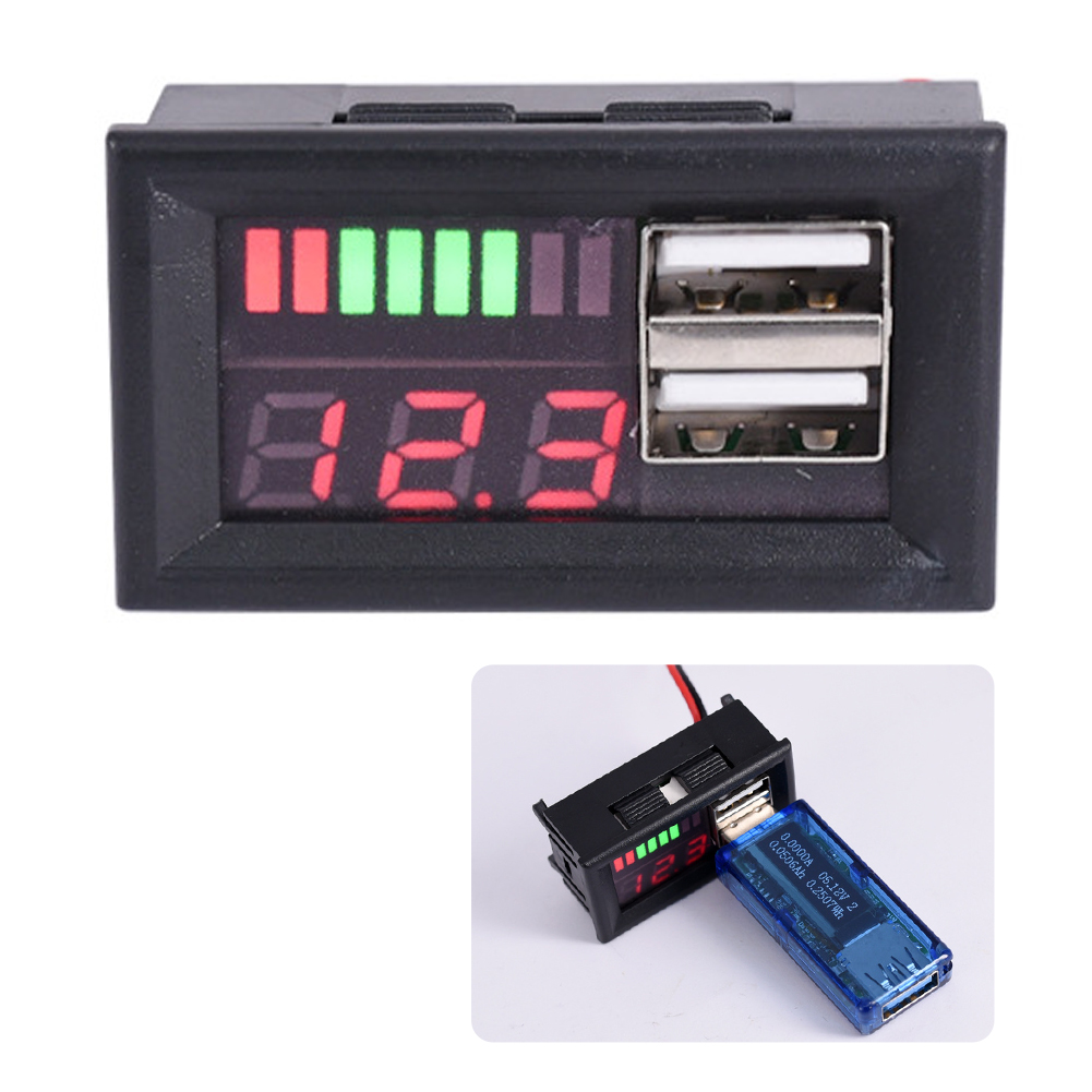 <font><b>12V</b></font> Led Meter <font><b>Dual</b></font> <font><b>USB</b></font> Stecker Durable Digitale Display Niedrigen Wärme Spannung Batterie Panel Auto <font><b>Voltmeter</b></font> Energie Saving Professionelle image