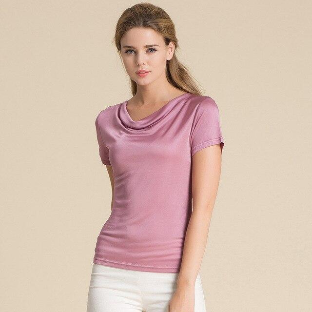 100% Pure Silk Women's T-Shirts Women Cowl Collar Wild Shirts Femme Short Sleeve Tops Woman Casual Tee Shirt Female T Shirts 1
