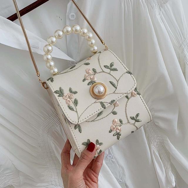 Bolso cruzado de cuero con perlas para mujer, bandolera pequeña de diseñador, de mano, de hombro, 2020