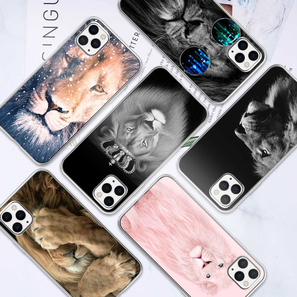 KISSCASE León Animal caso para iPhone 11 Pro XR XS MAX 5 5S SE 6 6S 7 8 Plus X 10 funda trasera suave TPU para iPhone 11 Pro Max Fundas