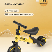 Children's Tricycle 3-in-1 Children's Scooter Baby Balance Bike 1-6 Years Learn To Walk Ride on Car 3 Wheels Non-inflatable