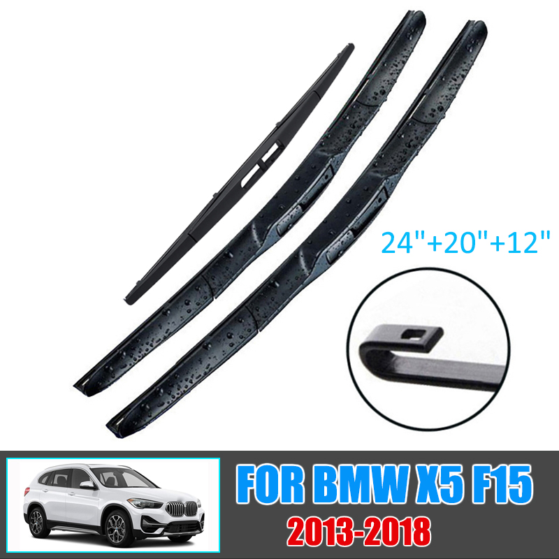 Car LHD Front & Rear Wiper Blades Set For BMW X5 F15 2013-2018 Windshield Windscreen Window 24